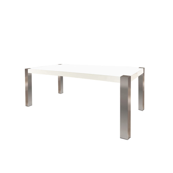 Rectangular Dining Table White Lacquer and Stain Steel legs