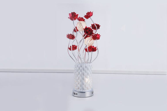 Table Lamp - Lighting - Red Metal and Glass 28 inch