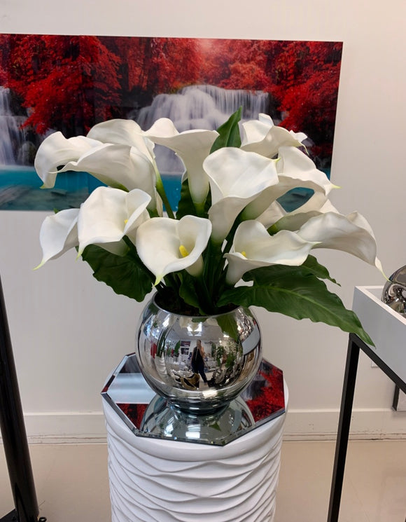 Calla Lilies Artificial Arrangement in Mirror Vase Floral & Greenery