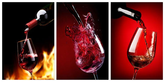 Tempered Glass Art - 3PC Pouring Wine Wall Art Decor