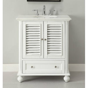 "Keysville 30"" White Bathroom Sink Vanity -GD-1087W"