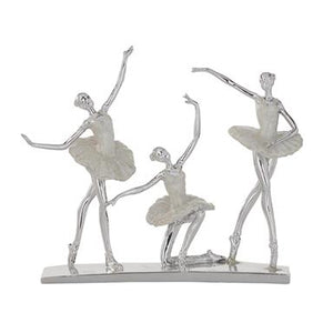 "14"" Silver And White Finished Polystone Ballet Dancers Sculpture - Home Decor"