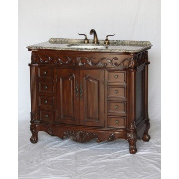 "Antique 42"" Walnut Bathroom Sink Vanity -3169-42-GY"