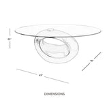 Oval Black Coffee Table with Tempered Glass