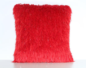Red Shaggy Lurex Throw Pillow