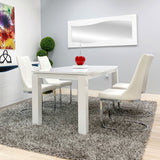 Rectangular Dining Table with Glossy White Finish