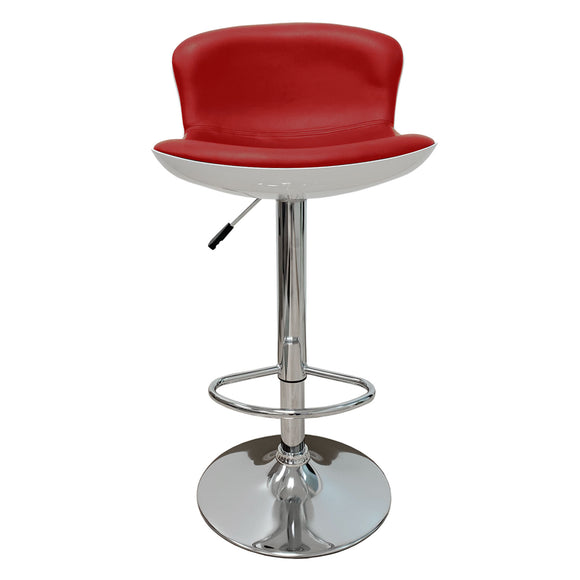 Red Faux Leather Swivel Seat Adjustable Barstool Set of 2