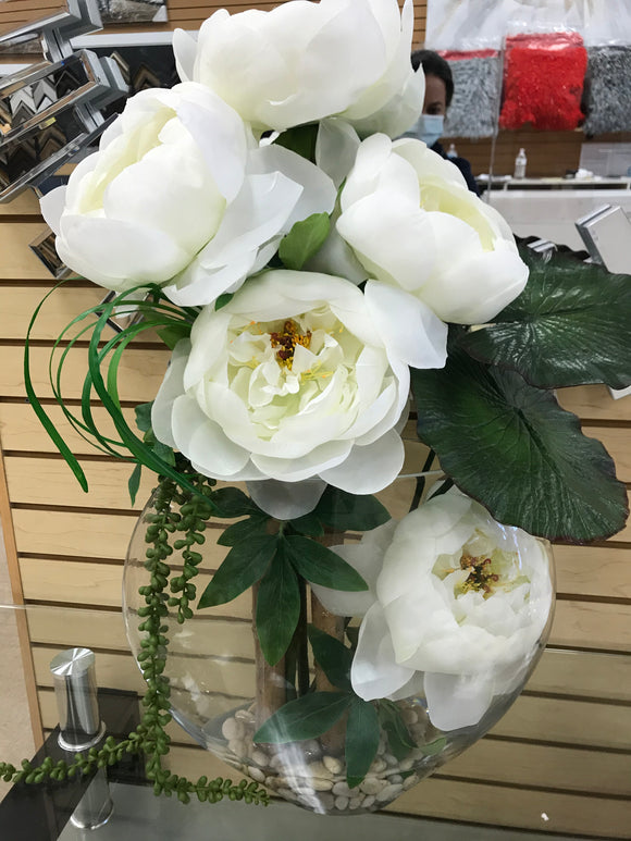 Artificial White Roses Arrangement with Glass Vase - Floral & Greenery