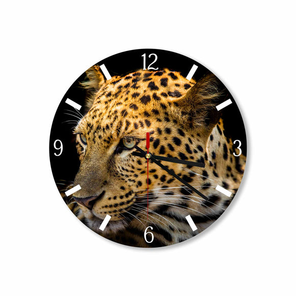 Leopard in Black Background Round/Square Acrylic Wall Clock