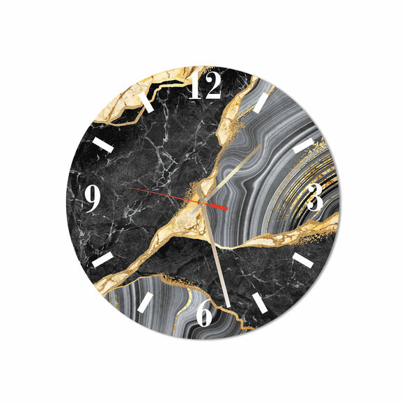 Black-Gold Marble Round/Square Acrylic Wall Clock