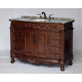"Antique 49"" Walnut Bathroom Sink Vanity -3169-GY"