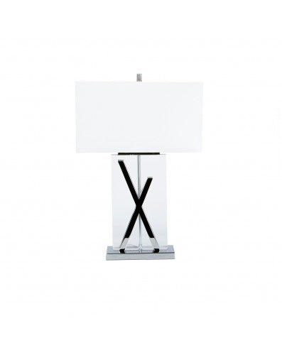 Crystal Rectangle Table Lamp - Lighting - X Shape Chrome 27 inch