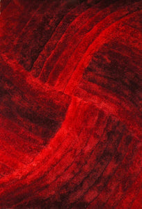 Modern Red Hypnotic Area Rug