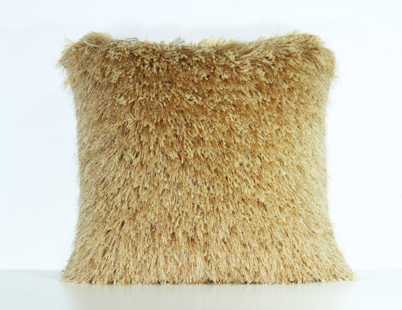 Gold Shaggy Lurex Throw Pillow