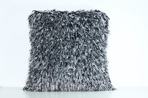 Black and White Shaggy Lurex Throw Pillow
