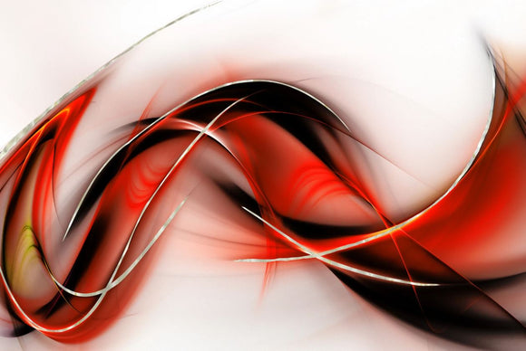 Tempered Glass Art - Red, Black & Gold Abstract Wall Art Decor