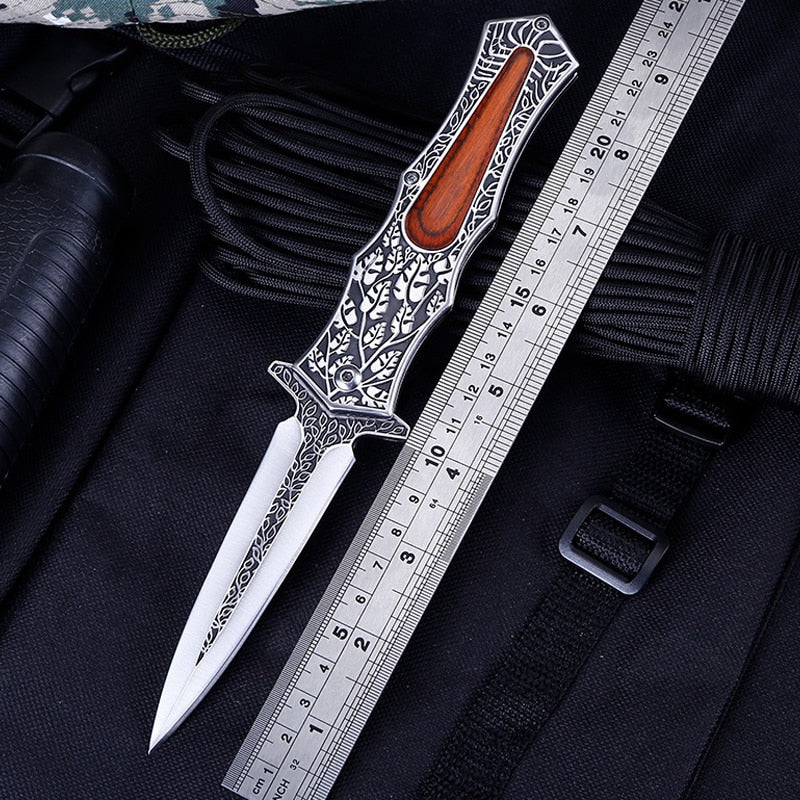 SDI Damascus Pocket Folding Knife - EDC Outdoor Tool for Camping Trekking Hiking OKS1-SDI-GEN