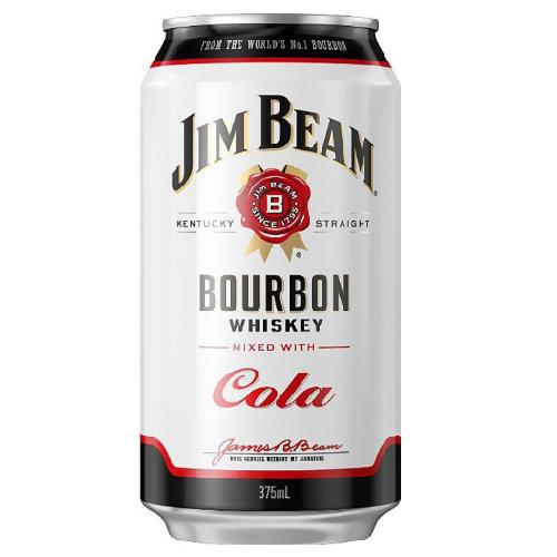 Jim Beam White Label and cola cans 375mL - Strathmorecellars