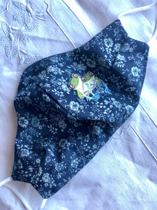 Navy cotton floral/frog friends