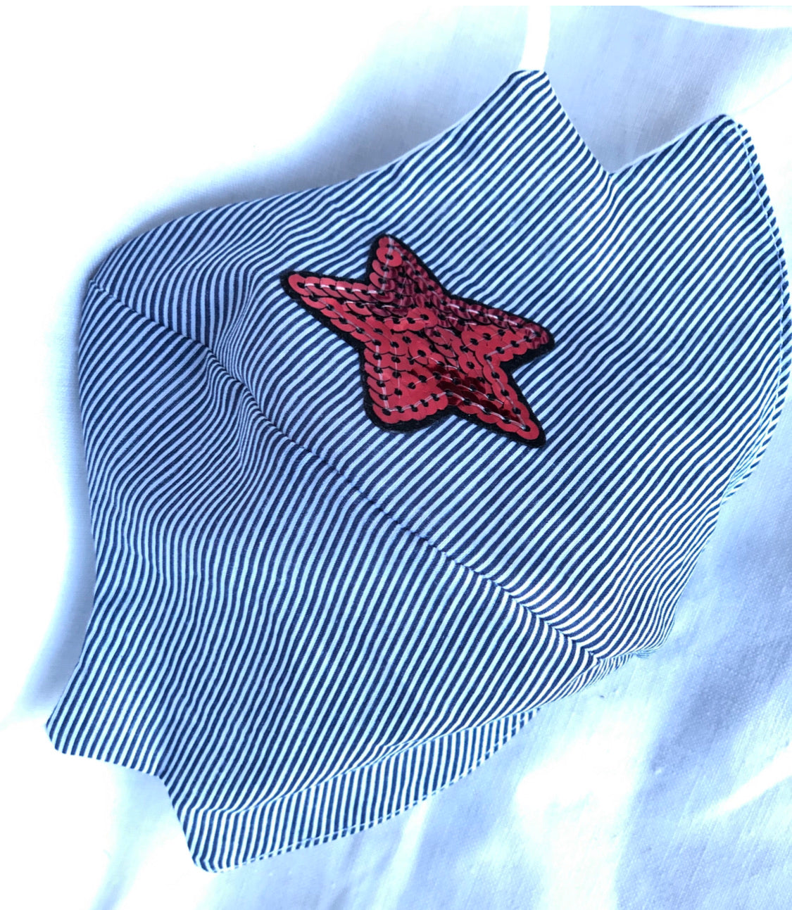 Lightweight blue and white stripe cotton/sequin star