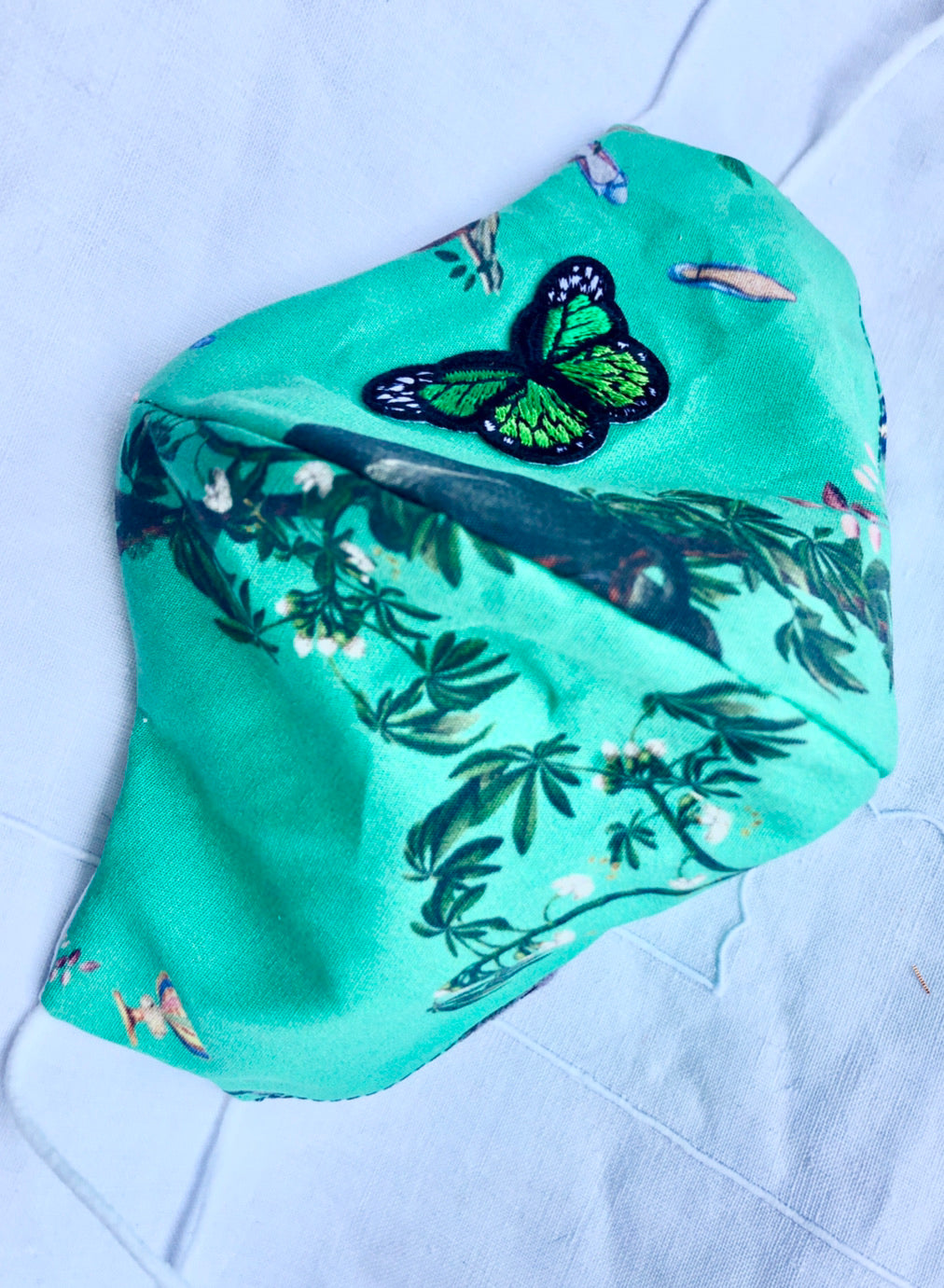 Cotton green chinoiserie/butterfly
