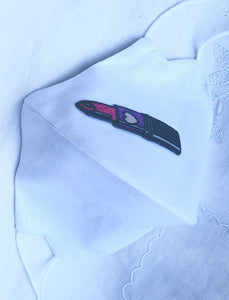 White linen cotton/Lipstick