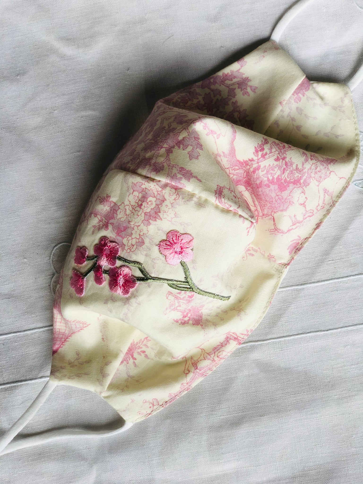 Pink/cream toile/cherry blossom 2