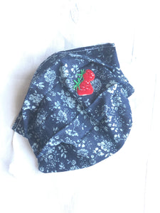 CHILD- age 2-6 blue cotton flower print/strawberry
