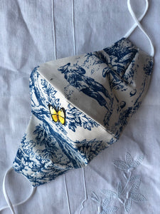 Blue toile/little yellow butterfly