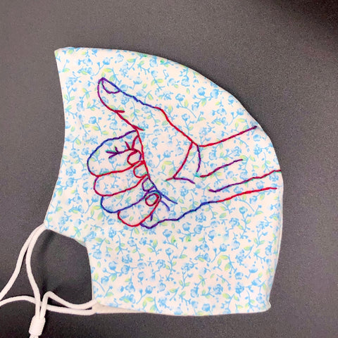 Hand embroidered Thumbs Up