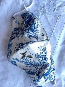 Blue toile/little hummingbird