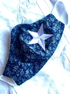 Navy cotton floral/white star