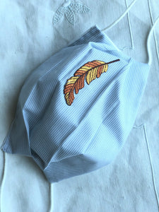 CHILD- adolescent-young adult/pale blue cotton stripe/feather