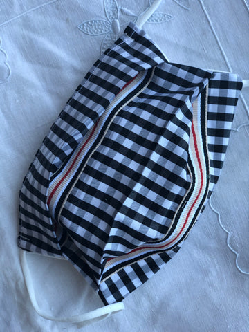 PETITE Accordion style black-white gingham/designer ribbon 2