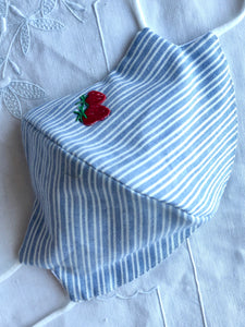 Blue and white striped cotton/strawberries