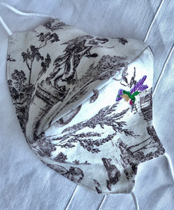 Cream and brown cotton toile/purple hummingbird