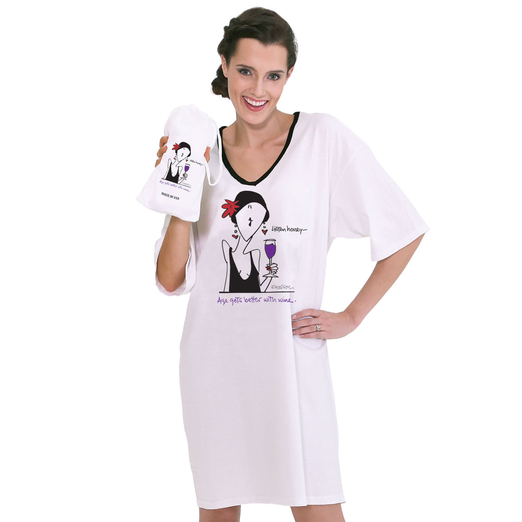 """Age gets better with wine""  NightShirt In A Bag"