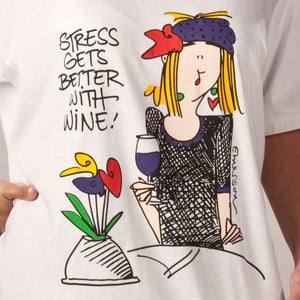 """Stress gets better with Wine""  Nightshirt In a Bag"
