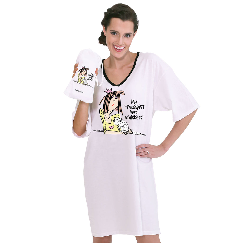 """MY THERAPIST HAS WHISKERS""  Nightshirt in a Bag"""