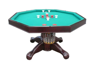 "Berner Billiards Multi 3 in 1 Table - Octagon 48"" w/Bumper Pool with SLATE bed in Mahogany"