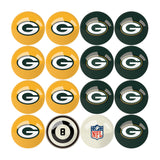 Imperial Green Bay Packers Billiard Balls With Numbers