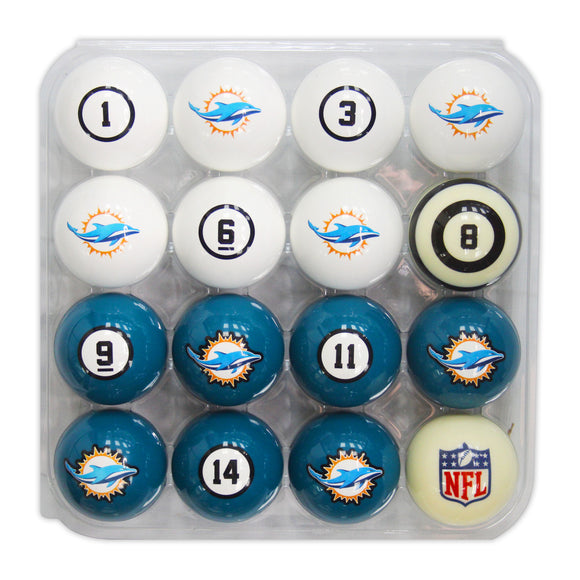 Imperial Miami Dolphins Billiard Balls With Numbers