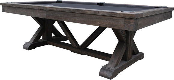 Playcraft Brazos River 8' Slate Pool Table w/ Leather Drop Pockets in Weathered Black