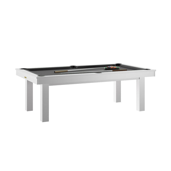 Rene Pierre Billiards Lafite White Pool Table with Dining Top