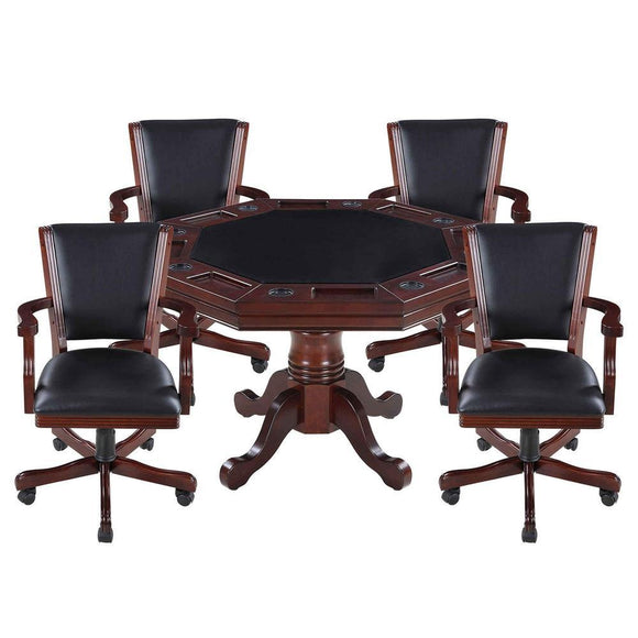 Picture of Hathaway Kingston 3-in-1 Poker Table in Walnut w/ 4 Arm Chairs