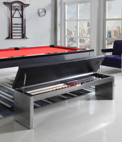 Playcraft Benches for Monaco Slate Pool Table, Black on Silver