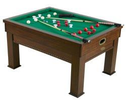 Picture of Berner Billiards Multi 3-in-1 Rectangular Bumper Pool, Card & Dining Table in Walnut