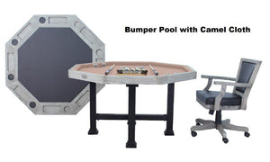 "Berner Billiards The Urban 3 in 1 Table - Octagon 48"" Bumper Slate Pool in Silver Mist"