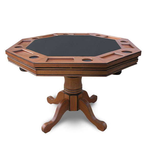 Picture of Hathaway Kingston 3-in-1 Poker Table in Oak w/ 4 Arm Chairs