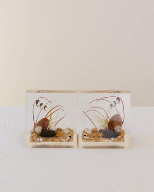 1960s Beachside Acrylic Bookends - Nice Vintage Things